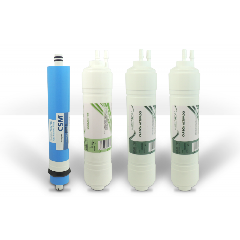 """Pack 3 filtros doble espiga 1/4"""" más Membrana Ósmosis"""